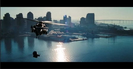 That's a military helicopter flying a car over San Diego Bay.