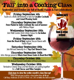 Balboa Park Food & Wine School Sept Schedule