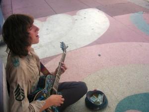 Charlie Konopka busks some San Diego blues on Adams Ave.