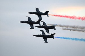 sunset at the air show, but the fun is just beginning...