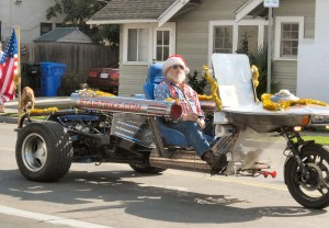"San Diego character, Loch David Crane (not Santa), rides down my street on his famous ""Star Trike"""
