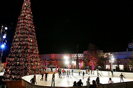 Skiers at the Viejas Outdoor Skating Rink in San Diego's East County