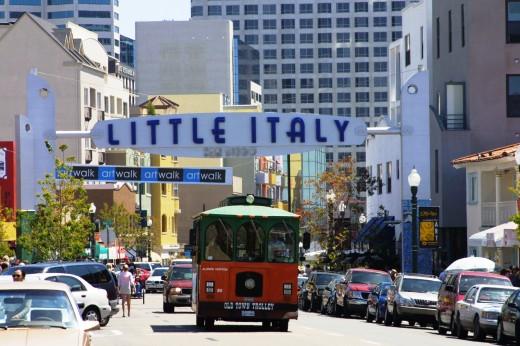 Little Italy Sign and Trolley