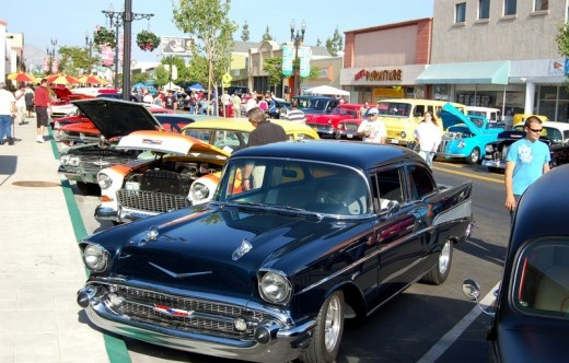 Cars Along the Street at Cajon Classic Cruise