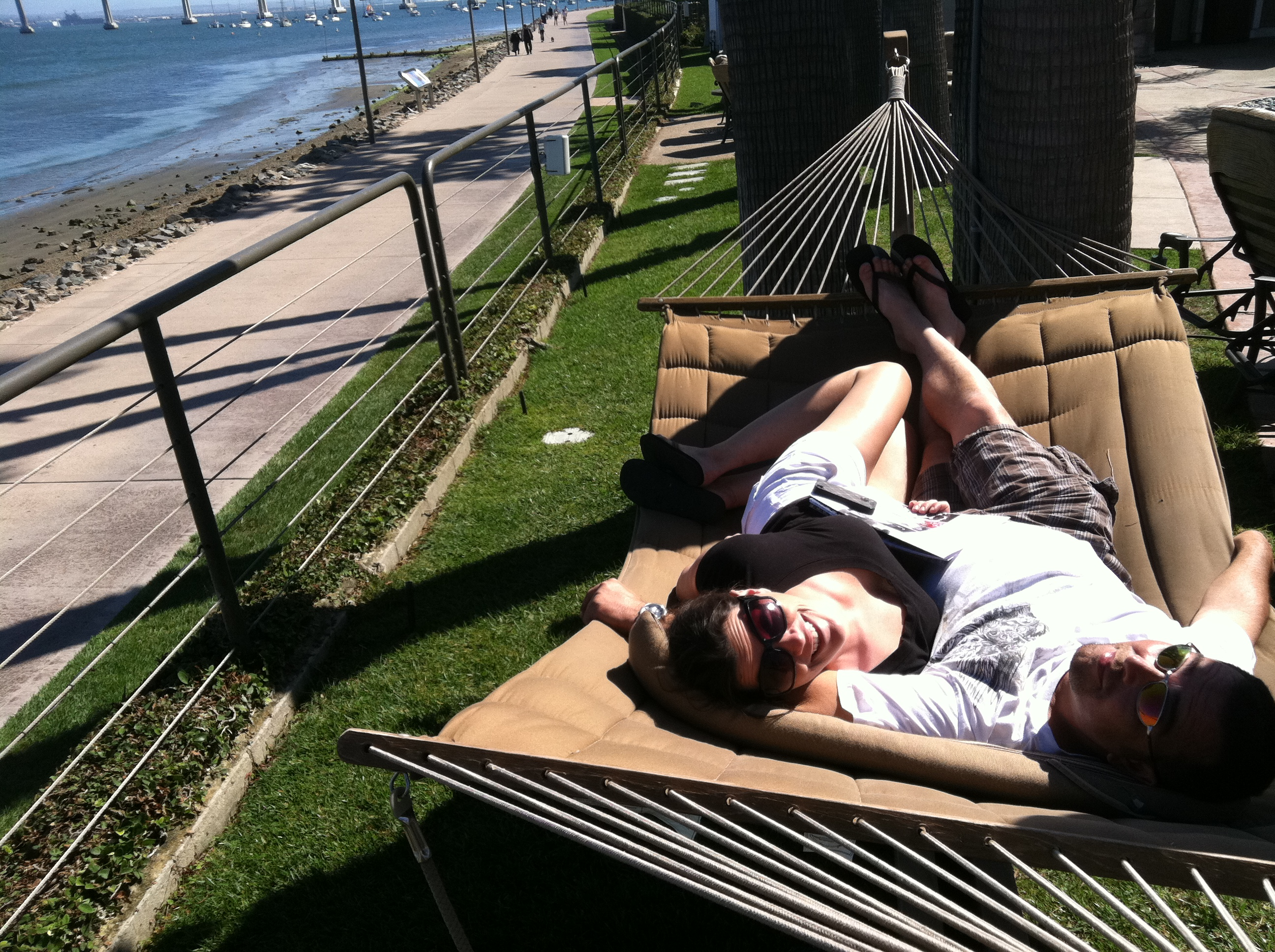 Catching some rays in Coronado Island Marriott's double hammocks.