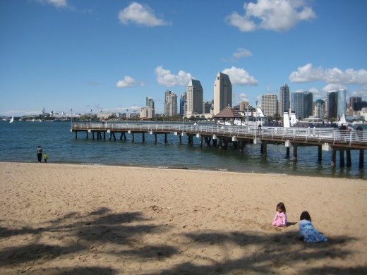 Kid-friendly beach at the Coronado Ferry Landing.