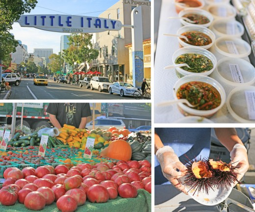 The colorful (and delicious) sights of the Little Italy Mercato, including fresh uni.