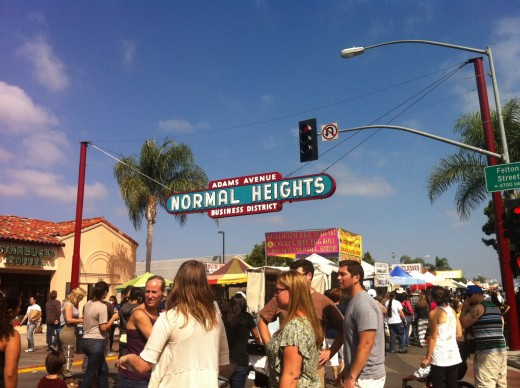 Normal Heights sign above the Adams Avenue Street Fair