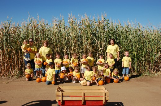 Kids with their Pumpkins at Mountain Valley Ranch