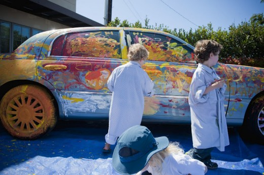 Kids Painting a car at the La Jolla Art and Wine Festival