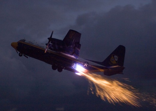 Blue Angels Cargo Jet with Pyrotechnics