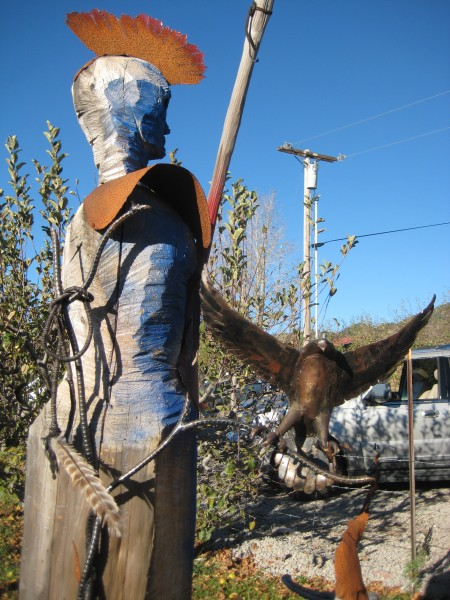 Sculpture with a Raven at Raven Hill Orchard