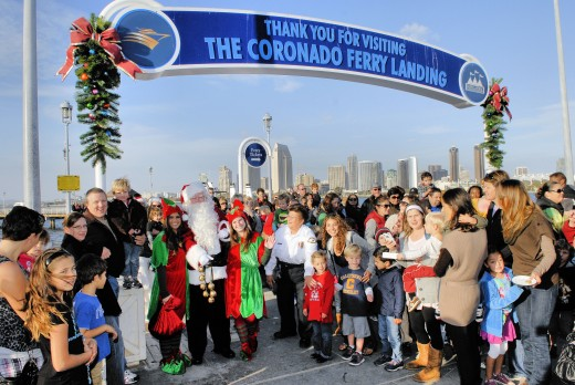 Santa Claus' festive arrival at the Coronado Ferry Landing!