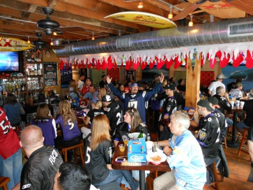 Baltimore Ravens Fans go to Dirty Birds for Super Bowl XLVII