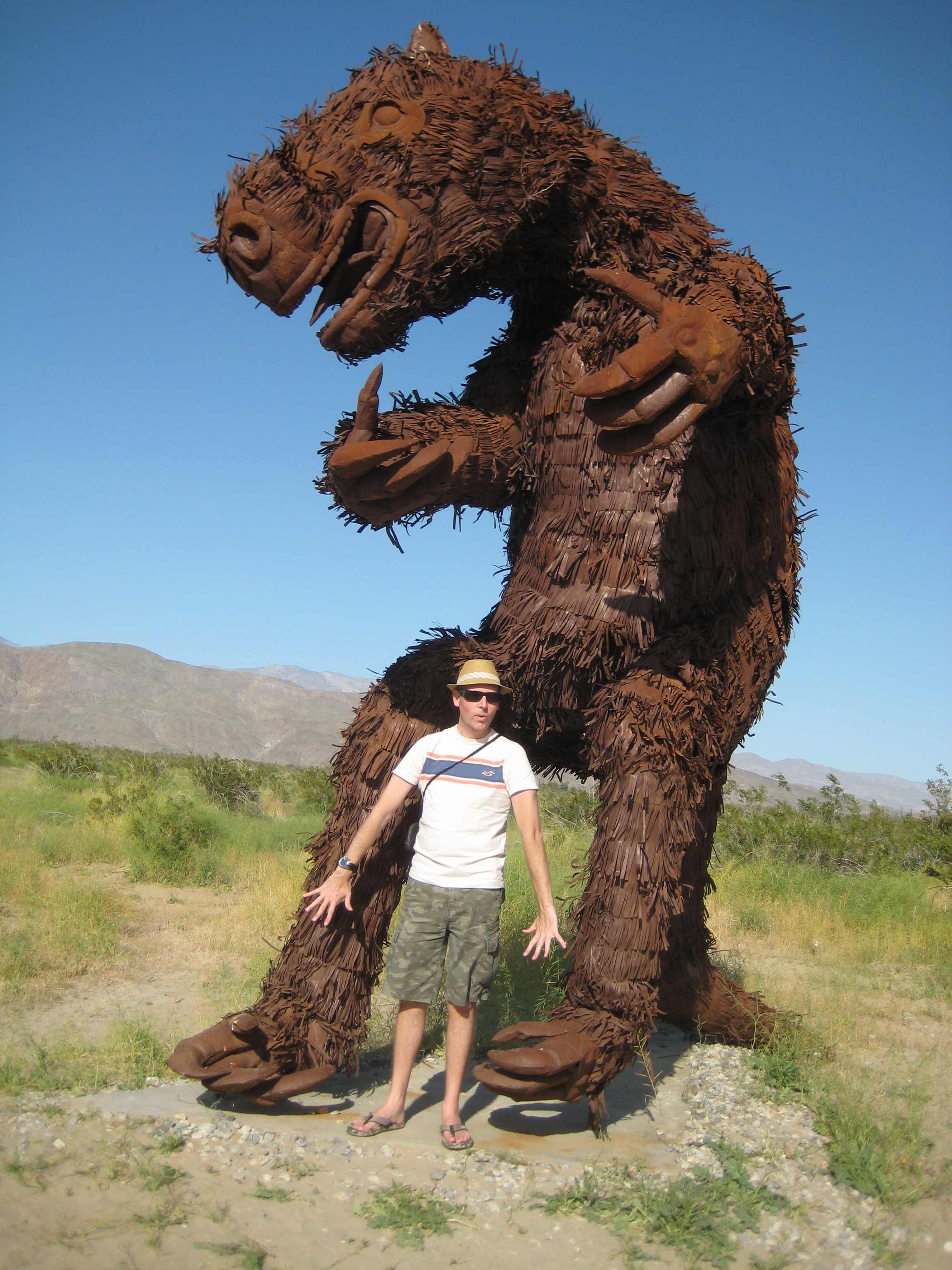 Yours truly with Giant Sloth at Galleta Meadows, Borrego Springs!