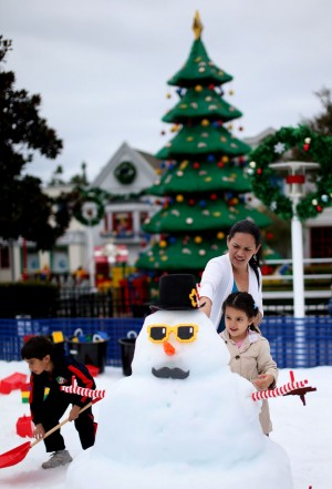 Real snow is one of the few things not made out of LEGOS at LEGOLAND during Holiday Snow Days.