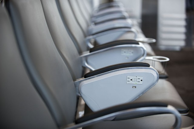 Brand new seats inside Terminal 2 with easy access to power