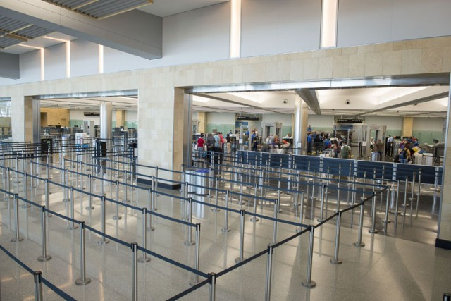 Expanded security checkpoint inside Terminal 2