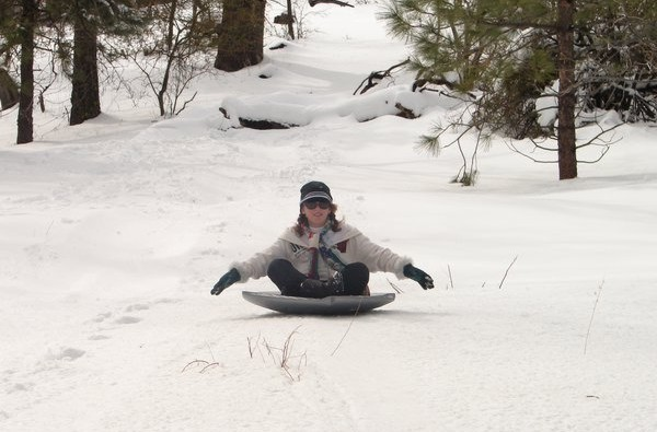 Saucer sledding on Mount Laguna.