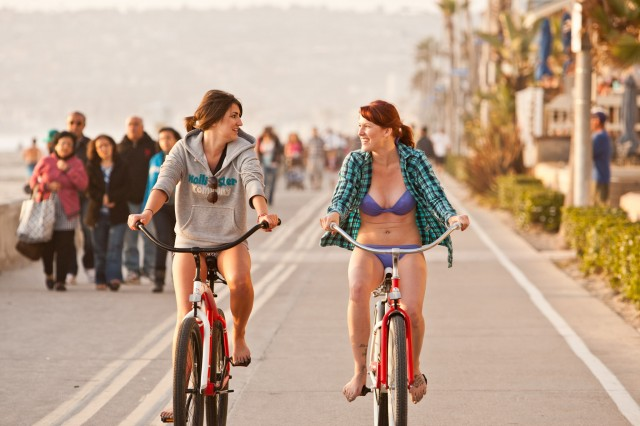 Girls Biking on Mission Beach