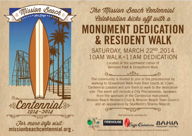 Mission Beach Centennial Monument Dedication & Resident Walk