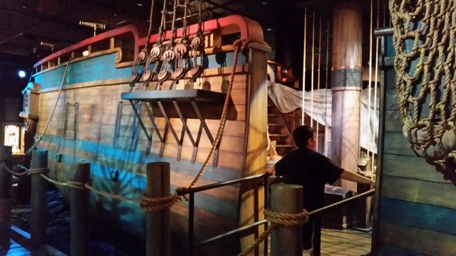 Enter the partial model of a pirate ship on display at The NAT's Real Pirates exhibit on display now in Balboa Park.