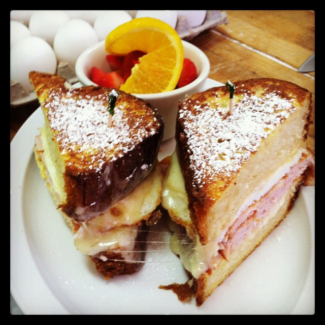 Enjoy a decadent Monte Cristo on homemade brioche at Cardamom Cafe.