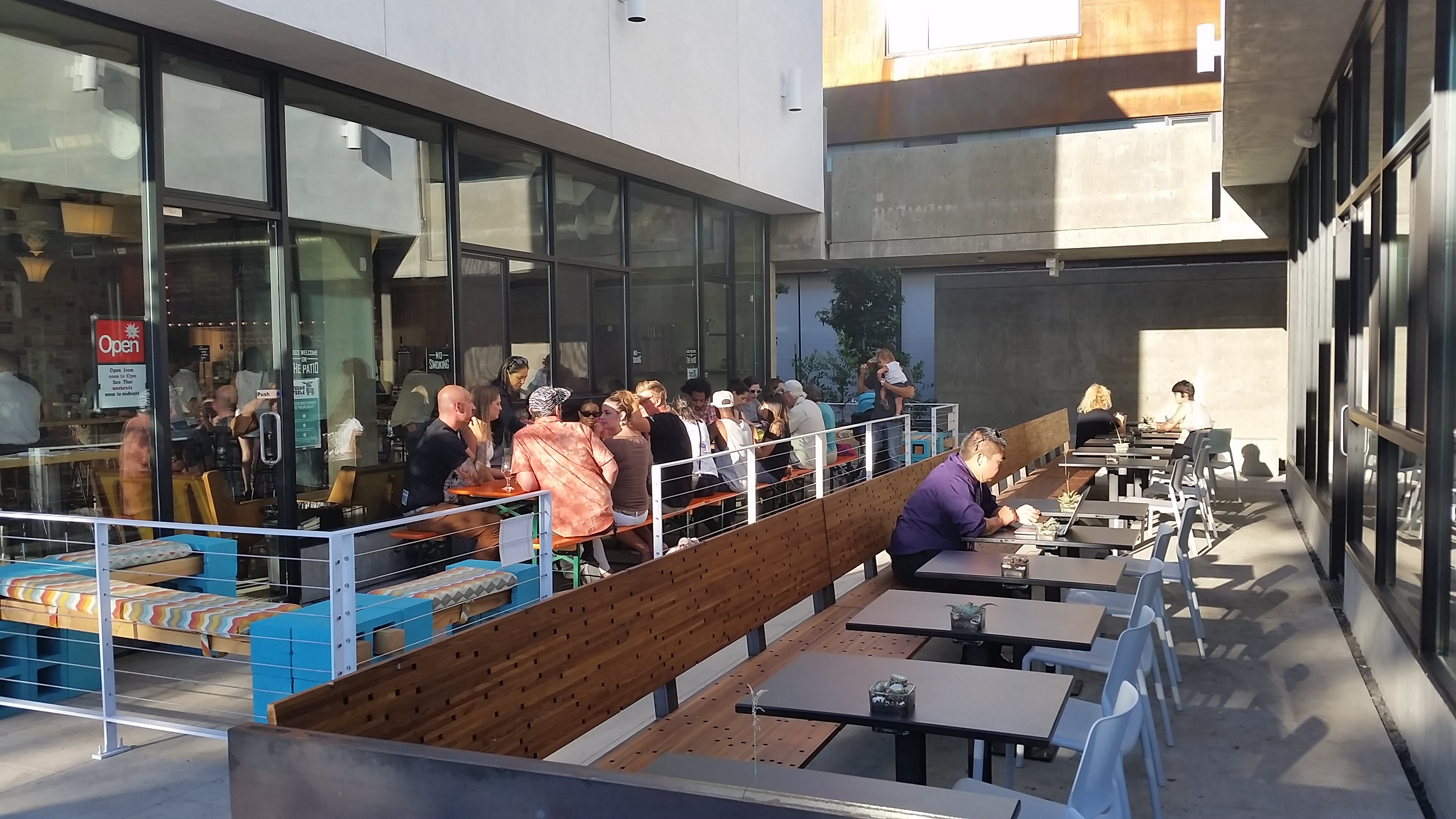 Exceptional Modern Times Flavordome Brewery Tasting Room Patio Meets Influx Cafe Patio  At The North Parker Building