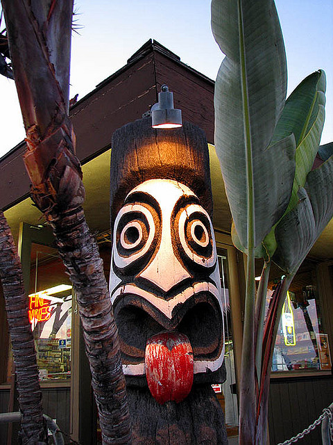 Playful tiki at Trader Mort's Liquor Store, Point Loma