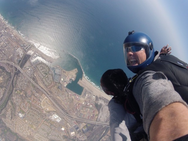 Skydiving over San Diego's Oceanside