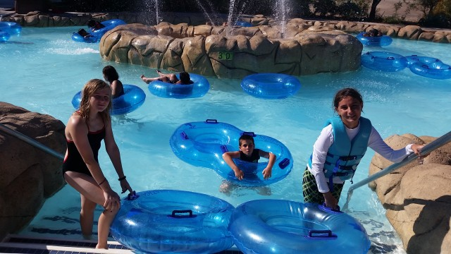 Hop aboard Aquatica's Loggerhead Lane lazy river, 1,250 feet of easy tubing the whole family can enjoy.