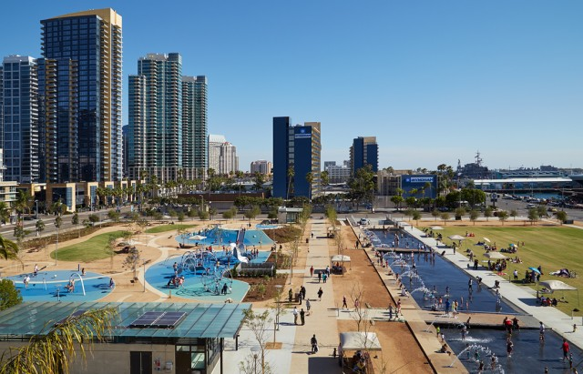 Locals and visitors alike enjoy the harbor views and interactive fountains at San Diego County's new Waterfront Park.  Courtesy Stephen Whalen