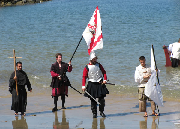 Historic reenactment of Cabrillo landing on the shores of San Diego Bay