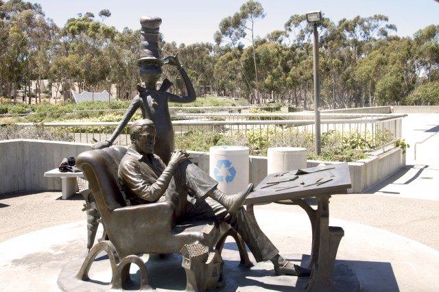 Dr. Seuss and Cat in the Hat sculpture at Geisel Library, UCSD in La Jolla