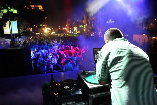 DJ Booth at ShamRock 2011 -Courtesy Gaslamp Quarter Historical Foundation