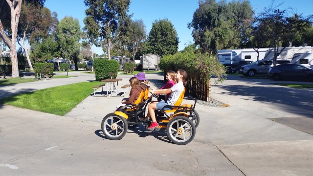 Mature trees, tidy landscaping and well paved paths make biking around the KOA Metro San Diego campground a joy.