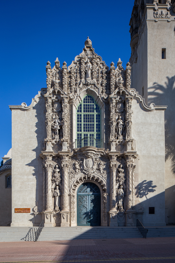 San Diego Museum of Man façade. Can you spot Cabrillo?