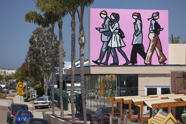 Chic Murals of La Jolla can be found throughout La Jolla, including this one by artist Julian Opie.