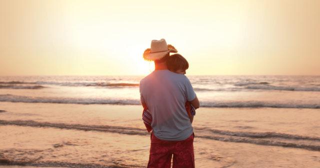 Father son hug on shore 1200x630