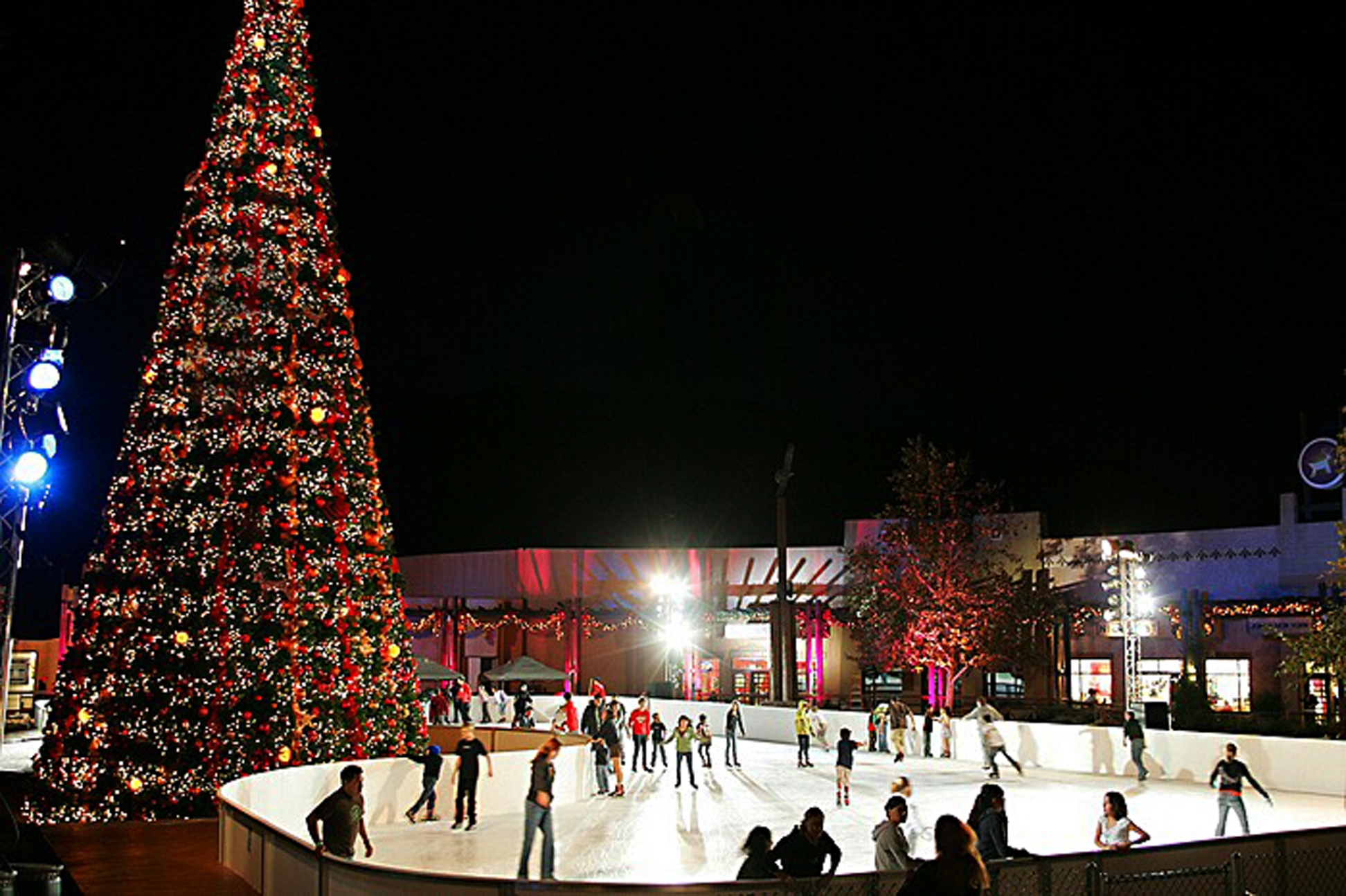 Skiers at the Viejas Outdoor Skating Rink
