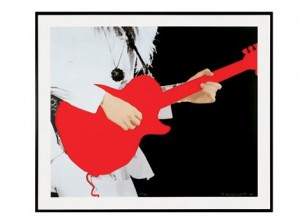 John Baldessari Person with Guitar (Red) 2005 5 color screenprint mounted on sintra 35 x 41 inches Published by Gemini G.E.L. Edition of 45 © Baldessari