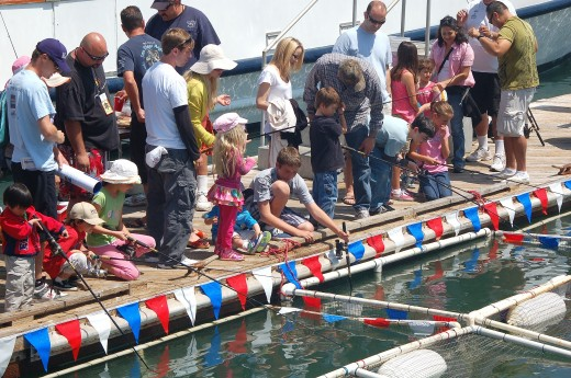 Kids fishing at the docks