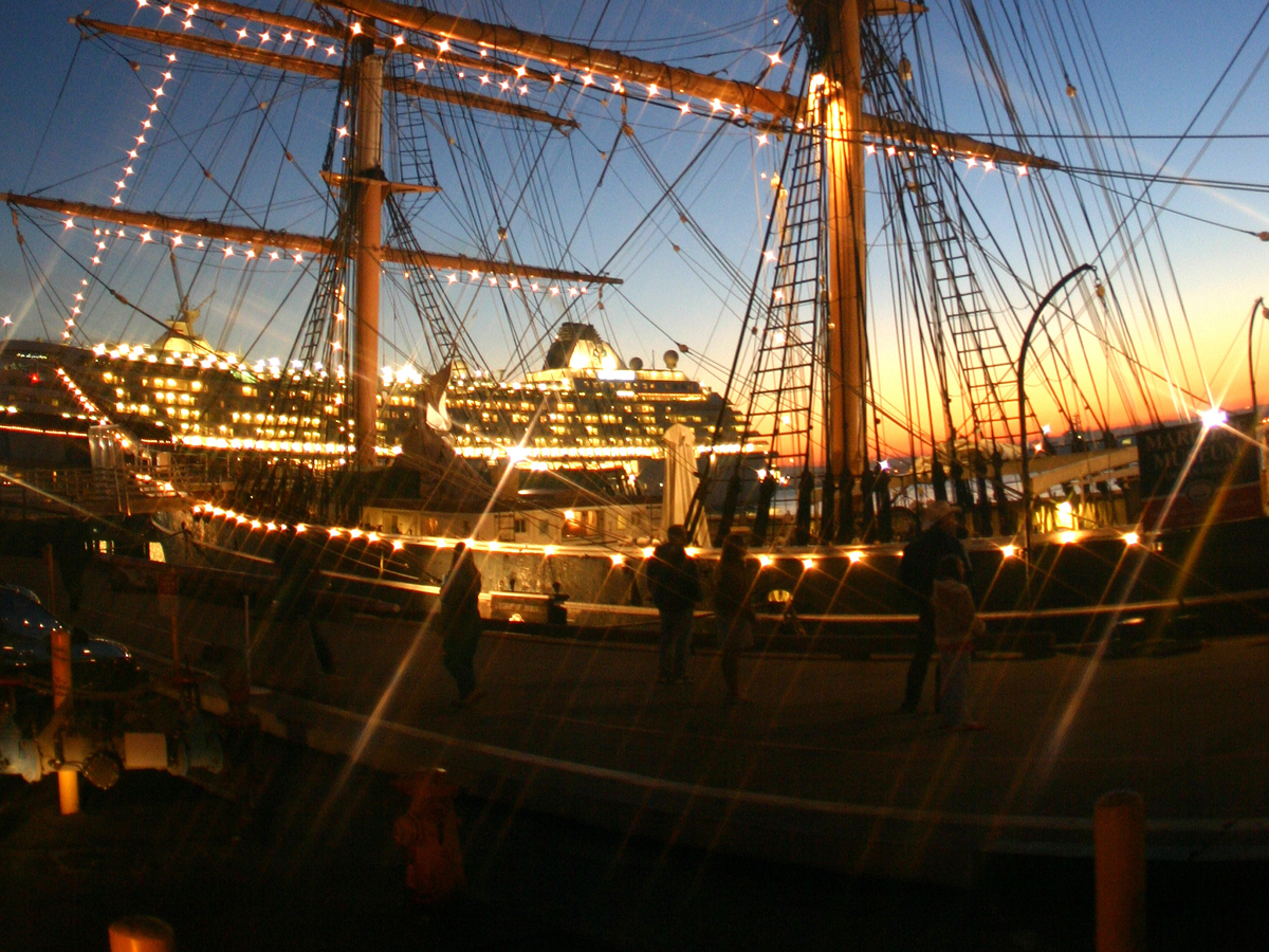 Star of India with lights at the Maritime Museum of San Diego