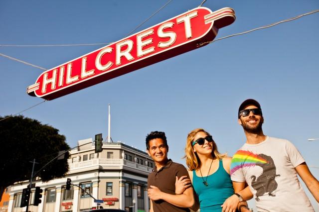 Walking under Hillcrest Sign