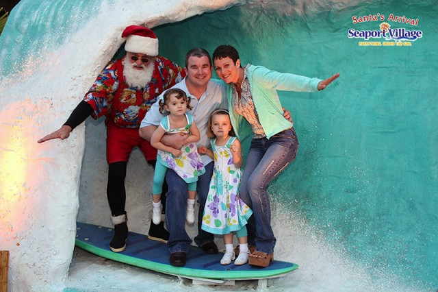 Surfing Santa Seaport Village San Diego holiday event