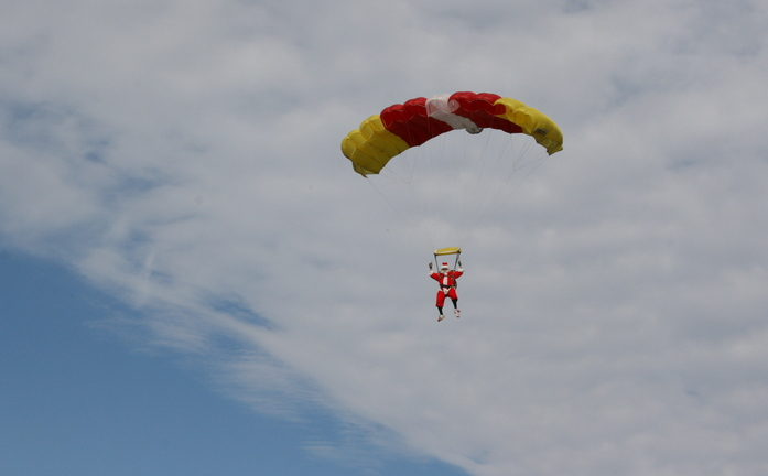 santa parachute jump