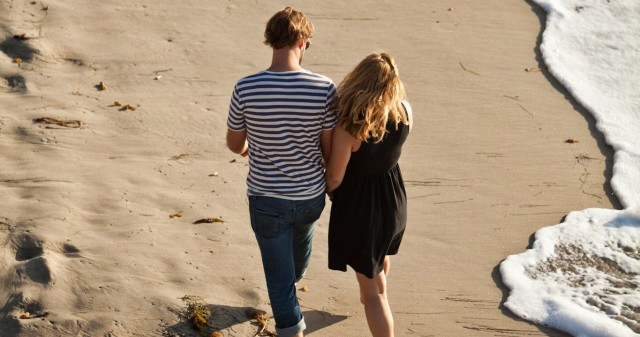 Couple Walking on a San Diego Beach