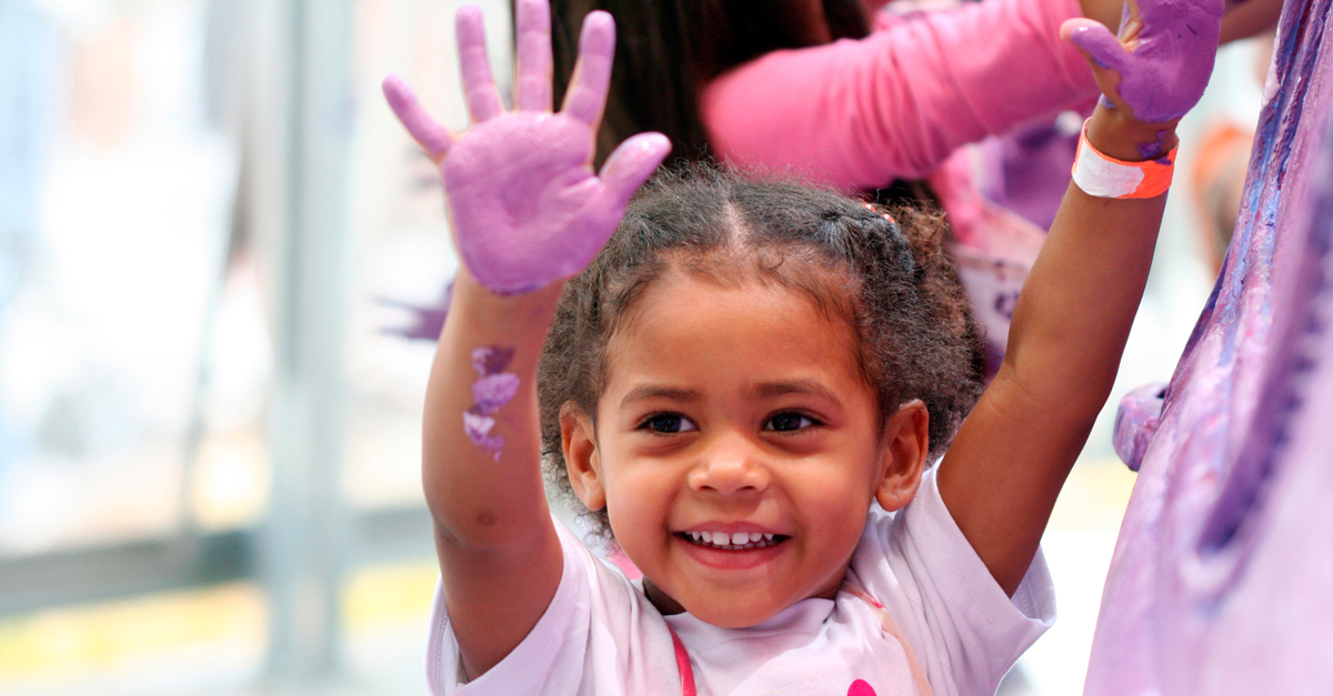 Kids Hand Painting at the New Children's Museum