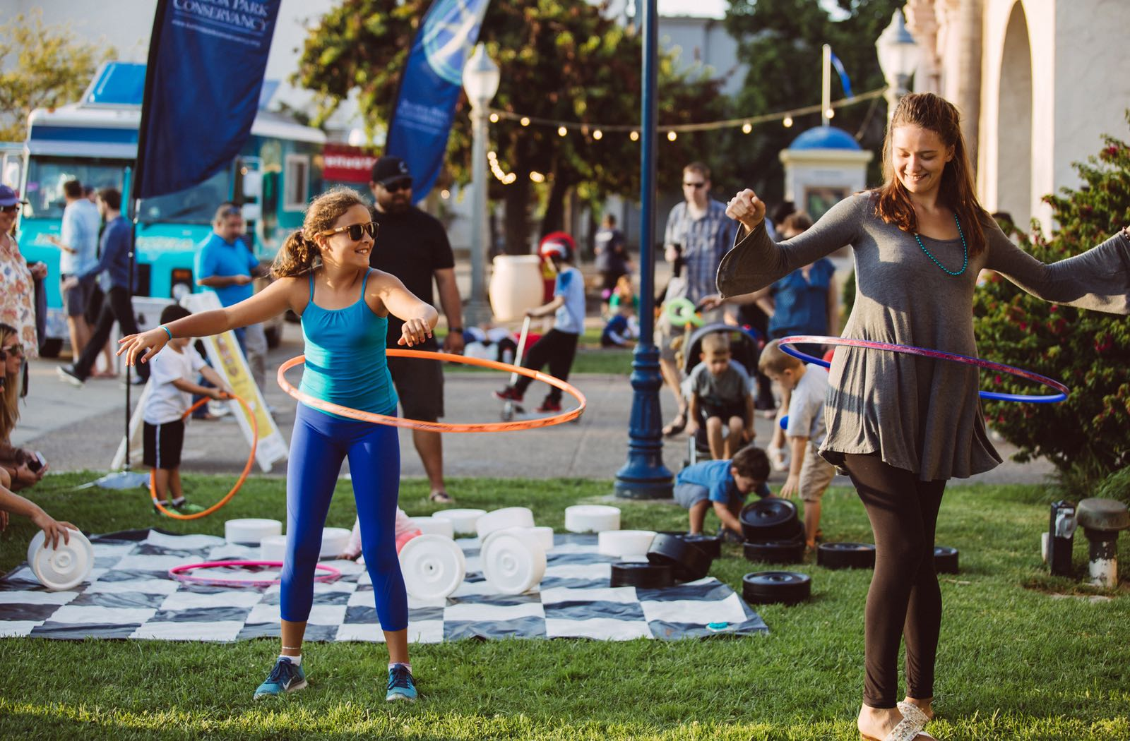 Girls with Hula Hoops at Food Truck Friday in San Diego's Balboa Park