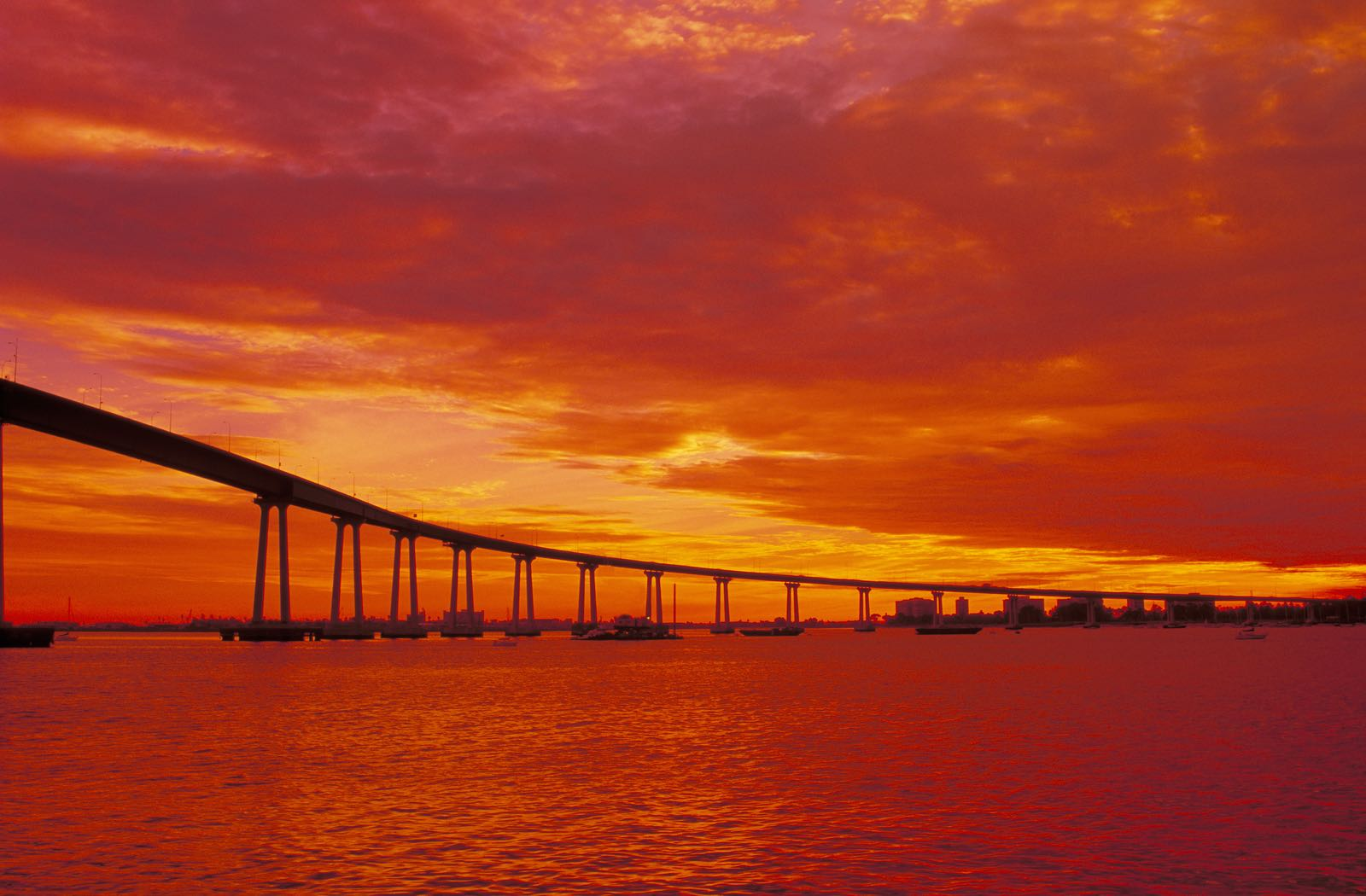 Red Sunset over the Coronado Bridge and San Diego Bay - Top Things to Do